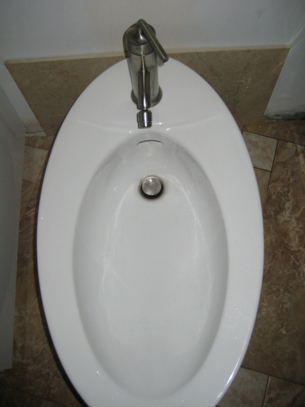 Bidet with single hole faucet