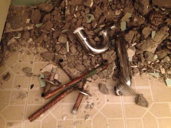 Burst copper pipes and P-trap