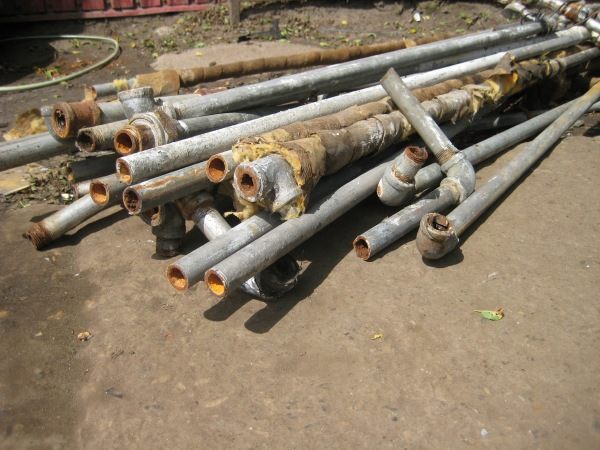Corroded galvanized steel water pipes