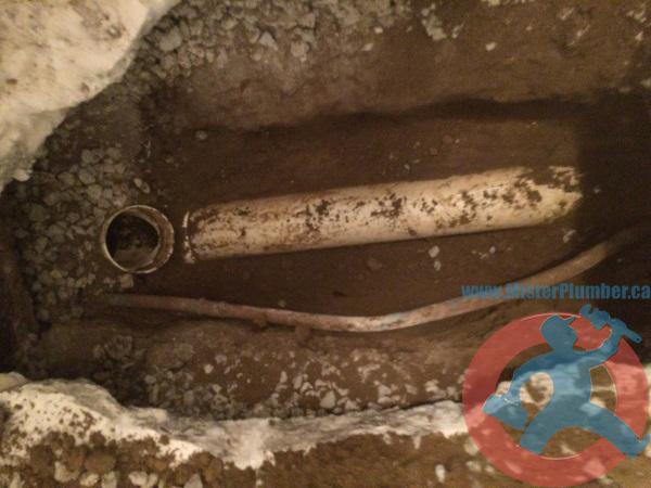 Main drain exposed