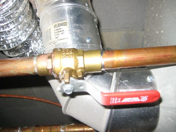 New ball shut-off valve for hot water tank