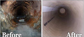 Trenchless Sewer Line Repair-before-after