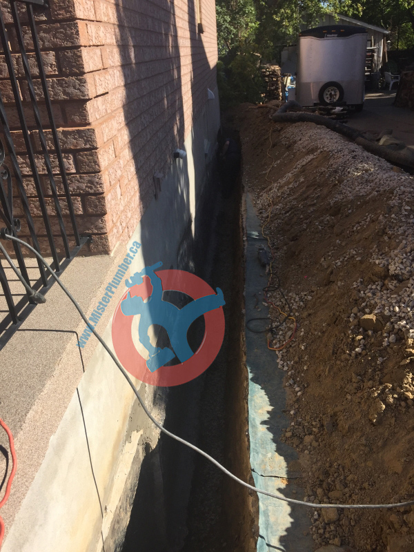 Trench for waterproofing