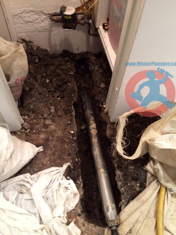 Trench in basement floor