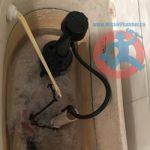 Frozen water in a toilet tank s