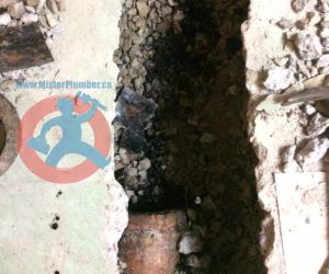 Disconnecting of old waste pipe s