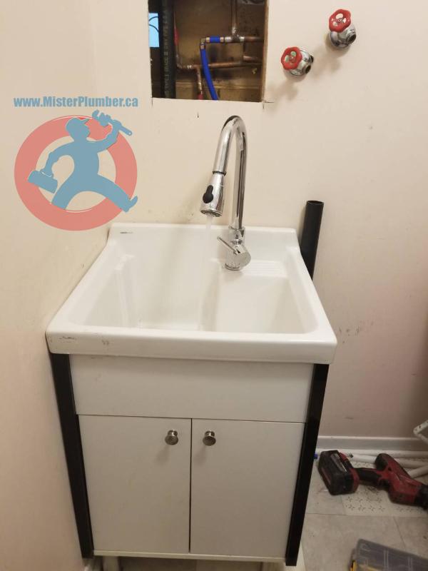 Laundry sink installation
