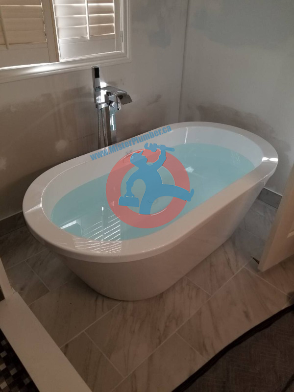 installed bathtub