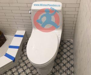 One piece toilet installation s