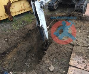 Digging a trench for new water-s