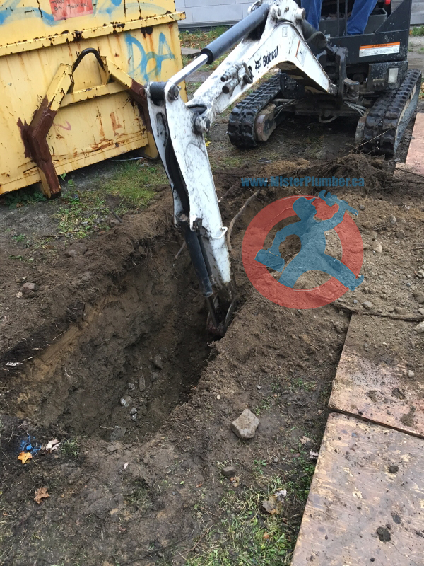 Digging a trench for pipes