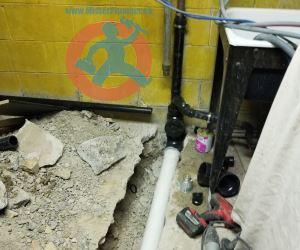 Underground new PVC drain branch s