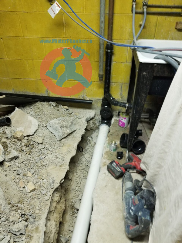 new PVC drain branch