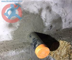 Drain pipe in lowered basement