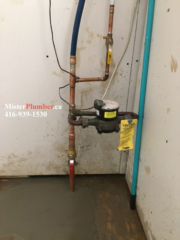 "New 1"" copper main water line in Toronto basement"