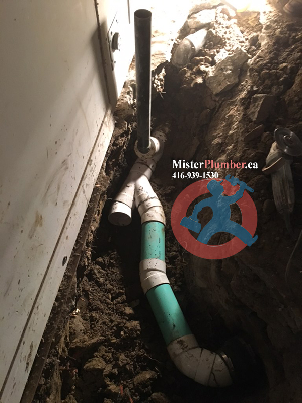 Drain repair in the basement