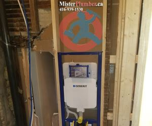 Plumbing for wall-hung toilet