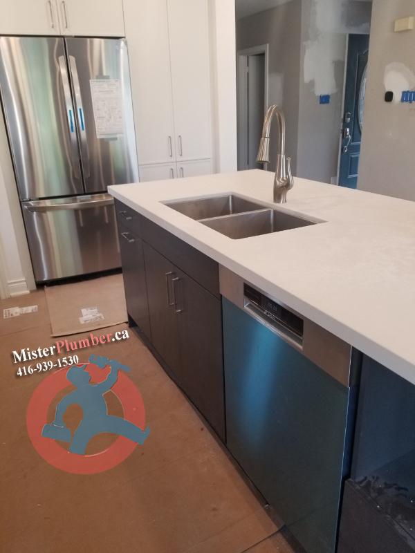 plumbing installation of fixtures in the kitchen