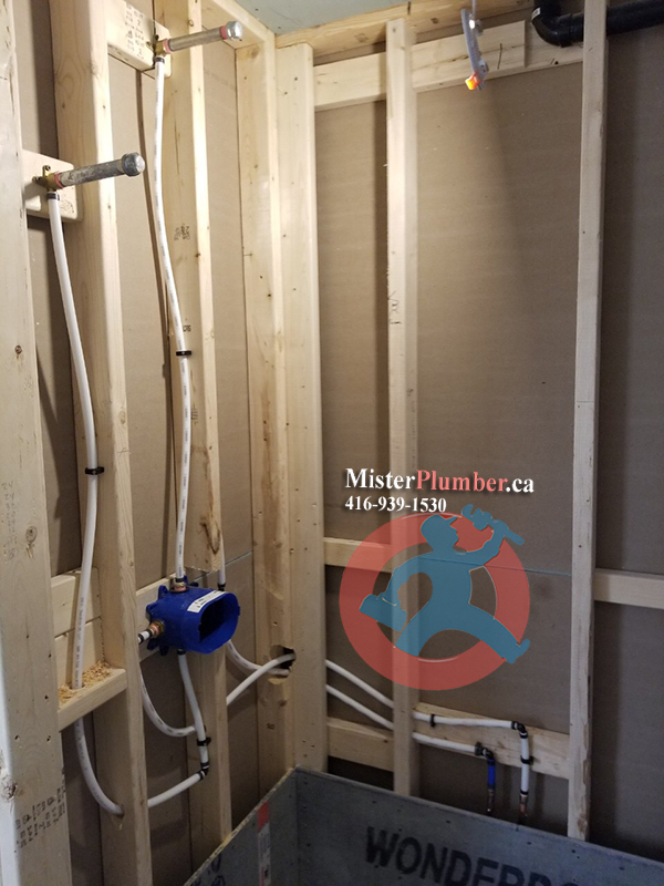 Shower tap body installation in residential house
