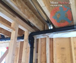 Installation of drain branches under ceiling