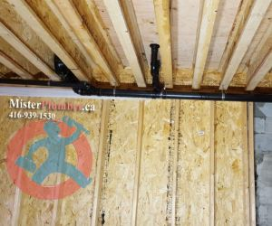 Installation of drain pipes under the ceiling