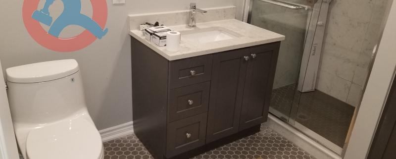 Renovated washroom in Mississauga
