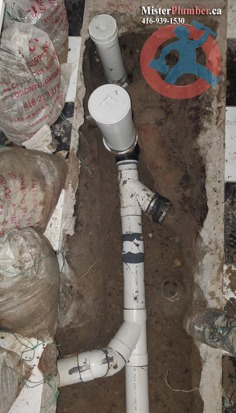 Backwater valve installed near front wall in Toronto basement