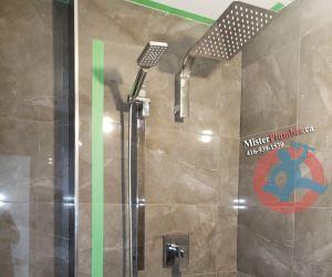 Modern shower tap in Toronto condo washroom