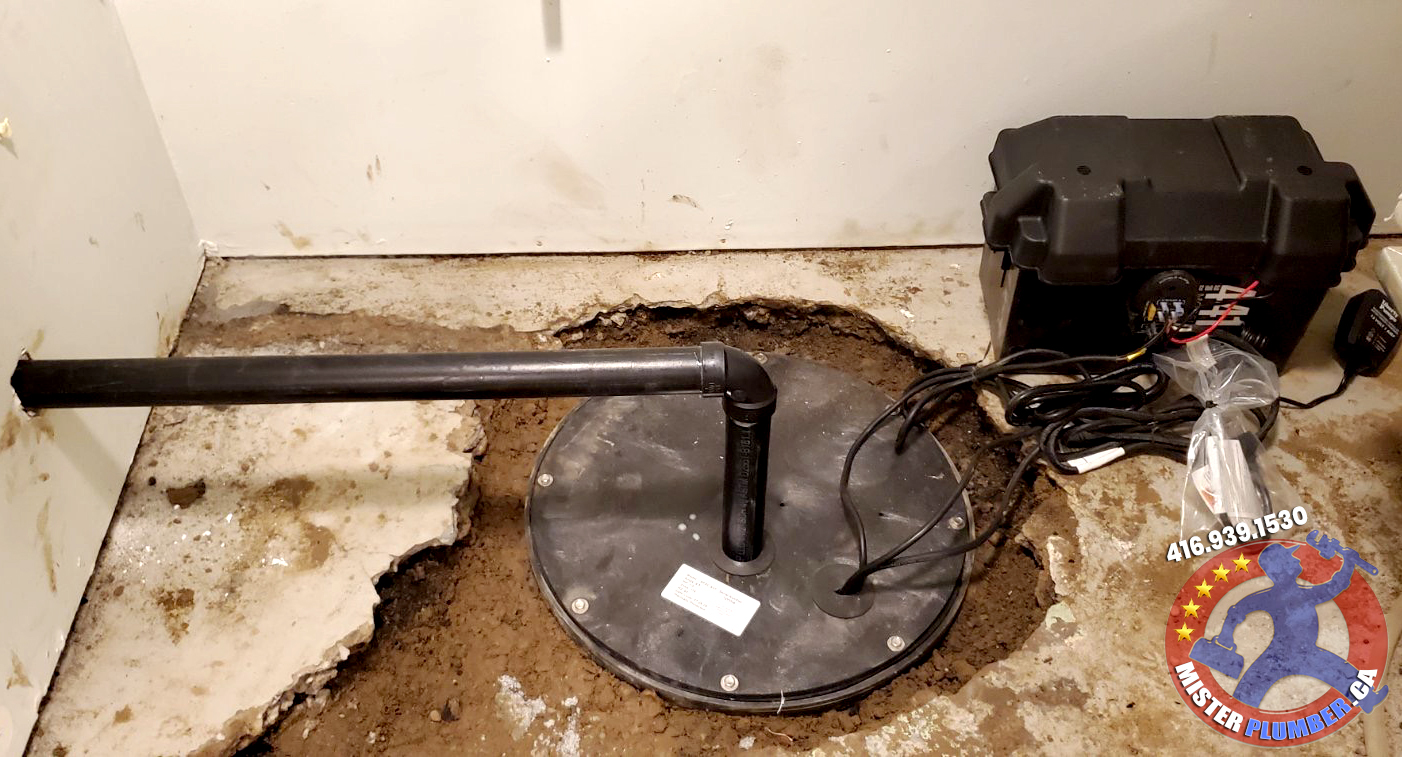 Sump pit with combo sump pump installation in Etobicoke basement